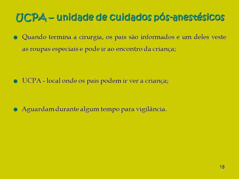 UCPA – unidade de cuidados pós-anestésicos