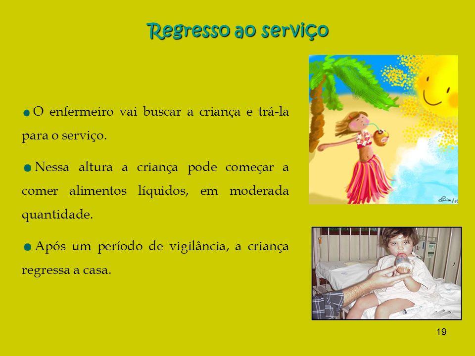 Regresso ao serviço O enfermeiro vai buscar a criança e trá-la para o serviço.