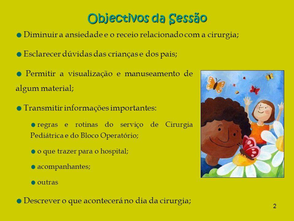Objectivos da Sessão Diminuir a ansiedade e o receio relacionado com a cirurgia; Esclarecer dúvidas das crianças e dos pais;
