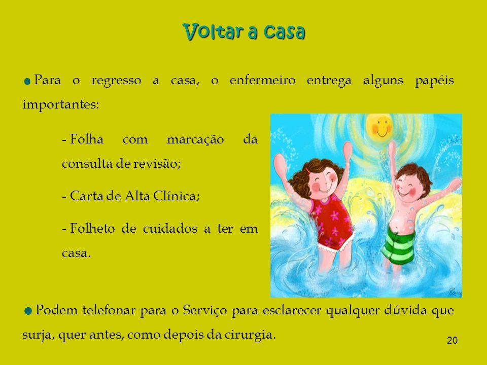 Voltar a casa Folha com marcação da consulta de revisão;