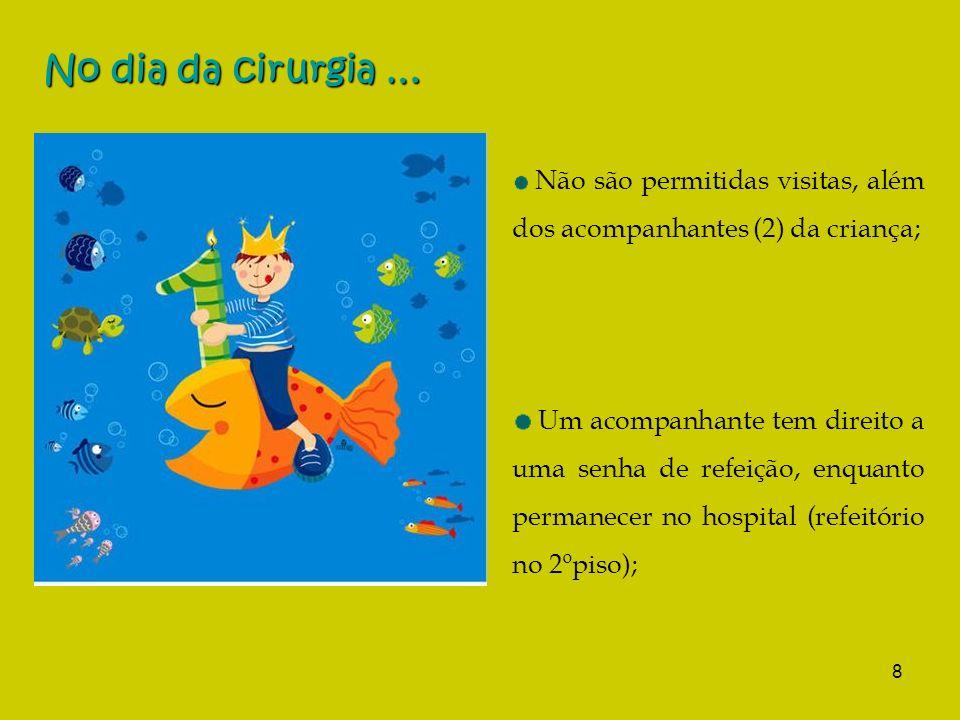 No dia da cirurgia … Não são permitidas visitas, além dos acompanhantes (2) da criança;