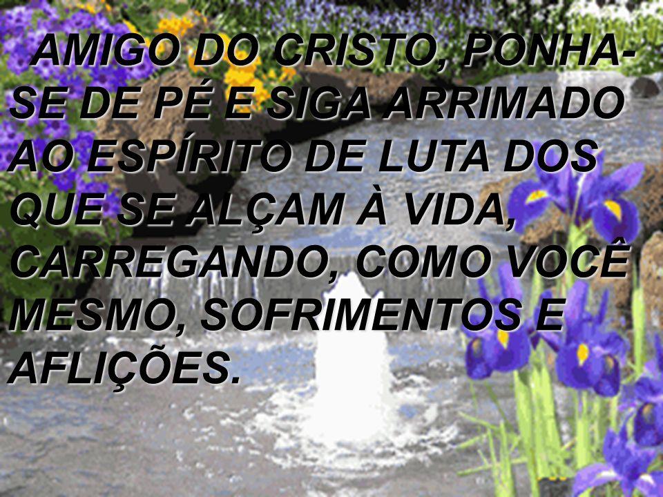 AMIGO DO CRISTO, PONHA-SE DE PÉ E SIGA ARRIMADO AO ESPÍRITO DE LUTA DOS QUE SE ALÇAM À VIDA, CARREGANDO, COMO VOCÊ MESMO, SOFRIMENTOS E AFLIÇÕES.