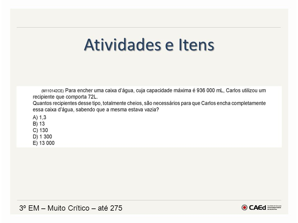 Atividades e Itens 3º EM – Muito Crítico – até 275