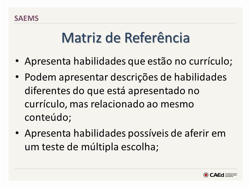 Matriz de Referência Apresenta habilidades que estão no currículo;