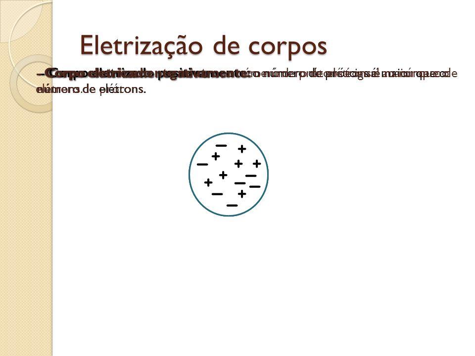 Eletrização de corpos - Corpo eletricamente neutro: o número de prótons é igual ao número de elétrons.