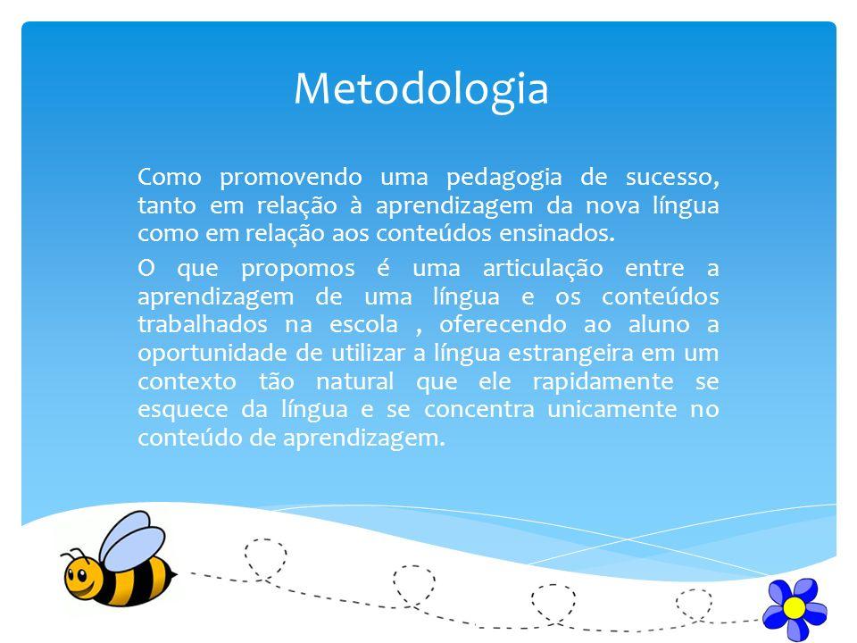 Metodologia Como promovendo uma pedagogia de sucesso, tanto em relação à aprendizagem da nova língua como em relação aos conteúdos ensinados.
