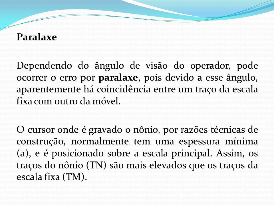 Paralaxe Dependendo do ângulo de visão do operador, pode ocorrer o erro por paralaxe, pois devido a esse ângulo, aparentemente há coincidência entre um traço da escala fixa com outro da móvel.