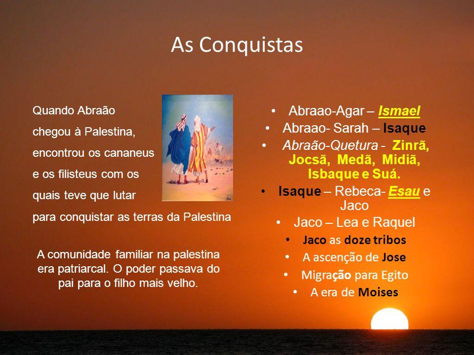 As Conquistas Abraao-Agar – Ismael Abraao- Sarah – Isaque