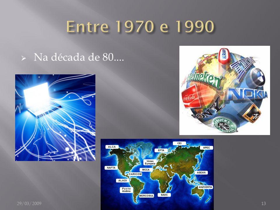 Entre 1970 e 1990 Na década de 80.... 29/03/2009