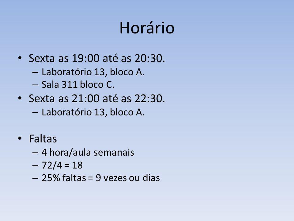 Horário Sexta as 19:00 até as 20:30. Sexta as 21:00 até as 22:30.