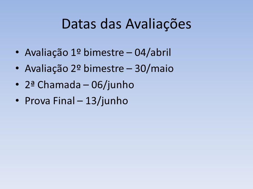Datas das Avaliações Avaliação 1º bimestre – 04/abril