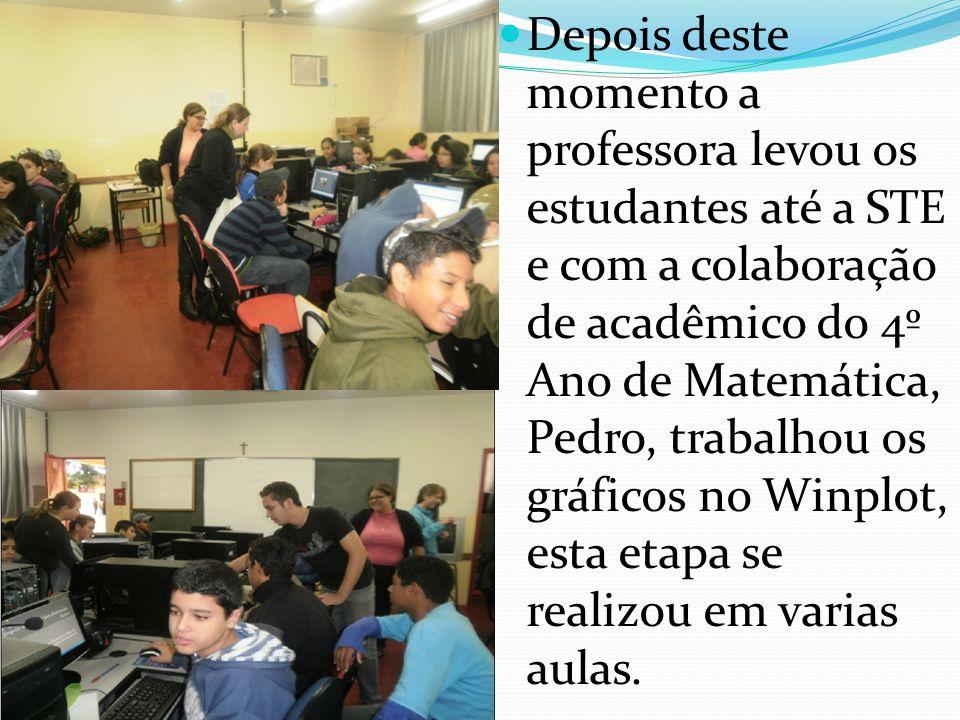 Depois deste momento a professora levou os estudantes até a STE e com a colaboração de acadêmico do 4º Ano de Matemática, Pedro, trabalhou os gráficos no Winplot, esta etapa se realizou em varias aulas.