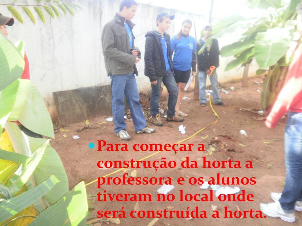 Para começar a construção da horta a professora e os alunos tiveram no local onde será construída a horta.