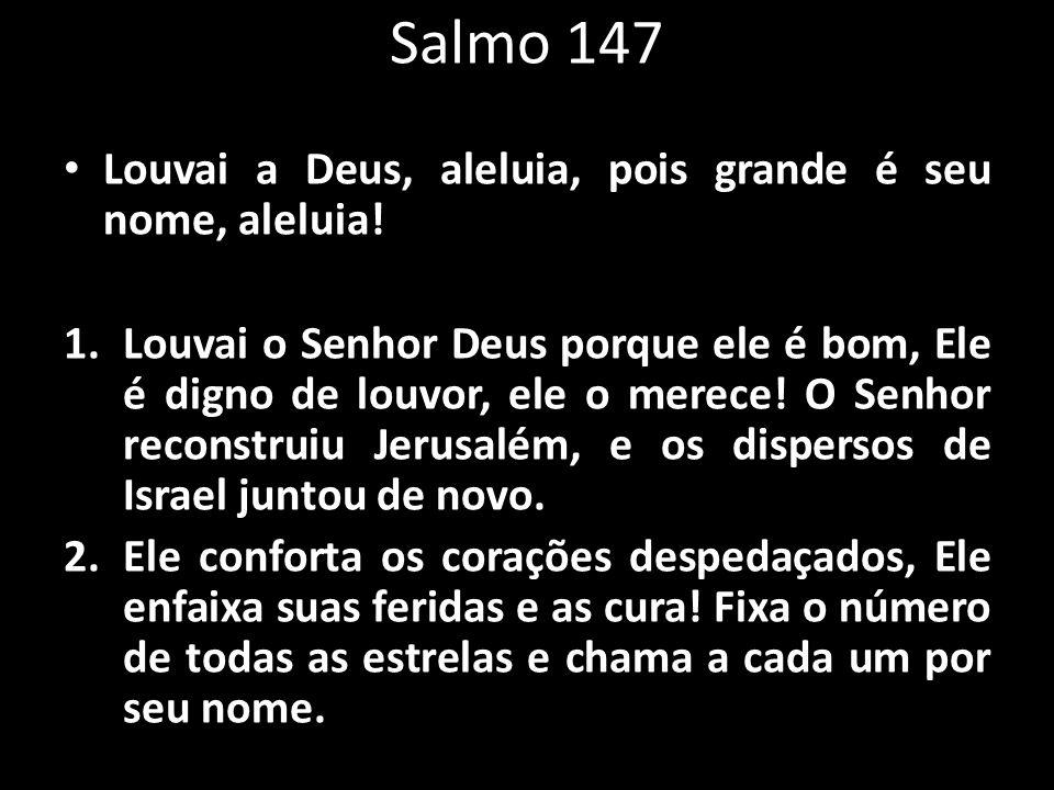 Salmo 147 Louvai a Deus, aleluia, pois grande é seu nome, aleluia!