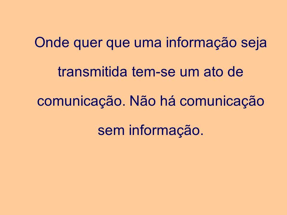 Onde quer que uma informação seja transmitida tem-se um ato de comunicação.