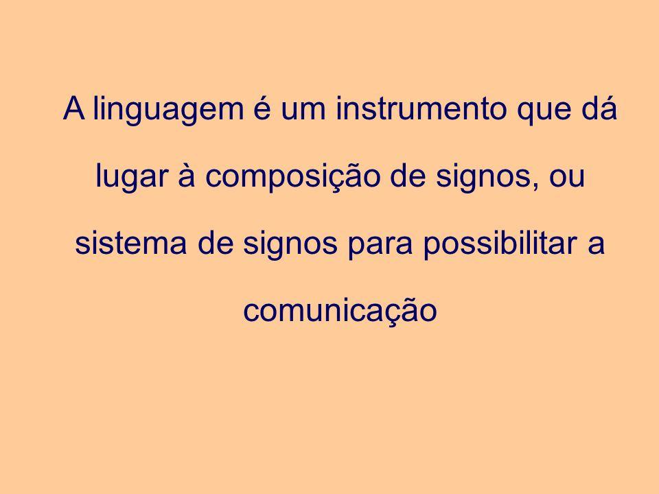 A linguagem é um instrumento que dá lugar à composição de signos, ou sistema de signos para possibilitar a comunicação