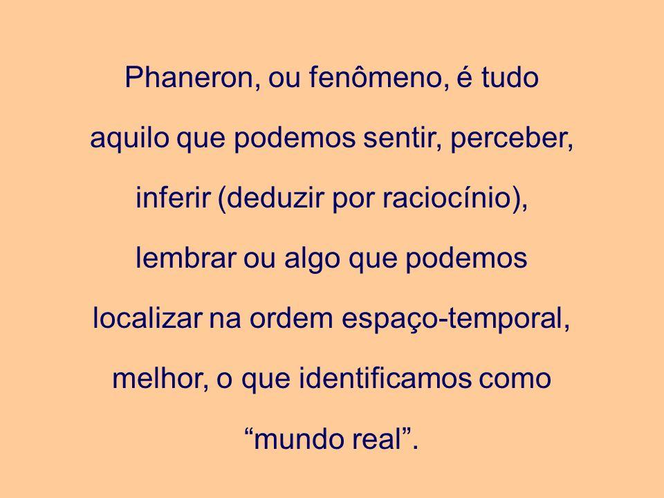 Phaneron, ou fenômeno, é tudo aquilo que podemos sentir, perceber, inferir (deduzir por raciocínio), lembrar ou algo que podemos localizar na ordem espaço-temporal, melhor, o que identificamos como mundo real .