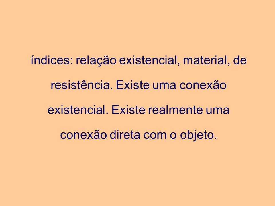 índices: relação existencial, material, de resistência