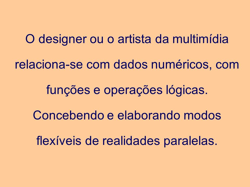 O designer ou o artista da multimídia relaciona-se com dados numéricos, com funções e operações lógicas.
