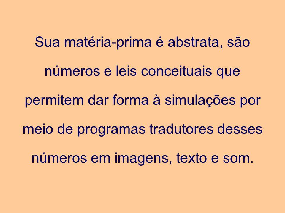 Sua matéria-prima é abstrata, são números e leis conceituais que permitem dar forma à simulações por meio de programas tradutores desses números em imagens, texto e som.