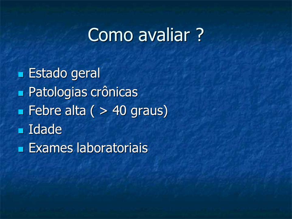 Como avaliar Estado geral Patologias crônicas