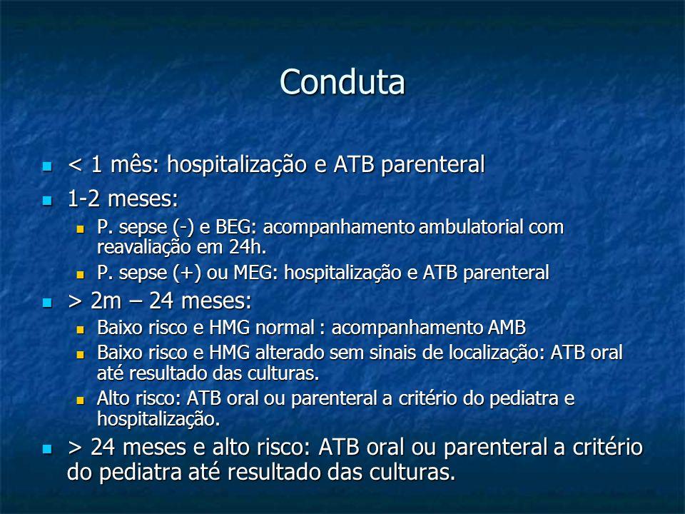 Conduta < 1 mês: hospitalização e ATB parenteral 1-2 meses: