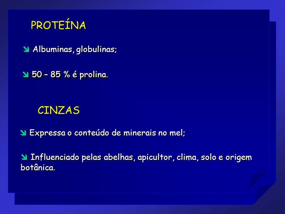 PROTEÍNA CINZAS  Albuminas, globulinas;  50 – 85 % é prolina.