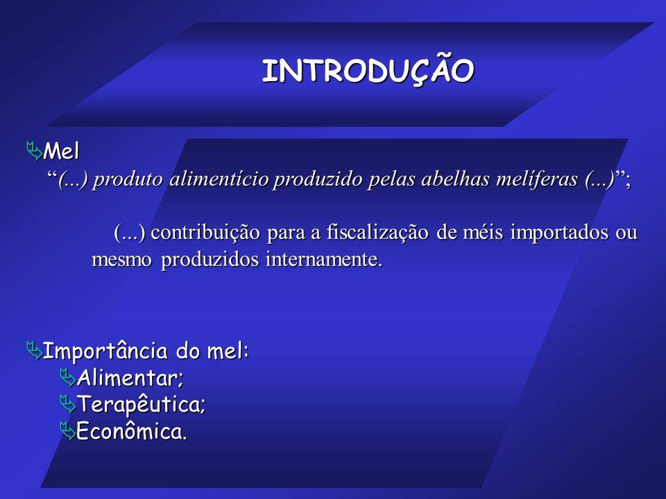 INTRODUÇÃO Mel. (...) produto alimentício produzido pelas abelhas melíferas (...) ;