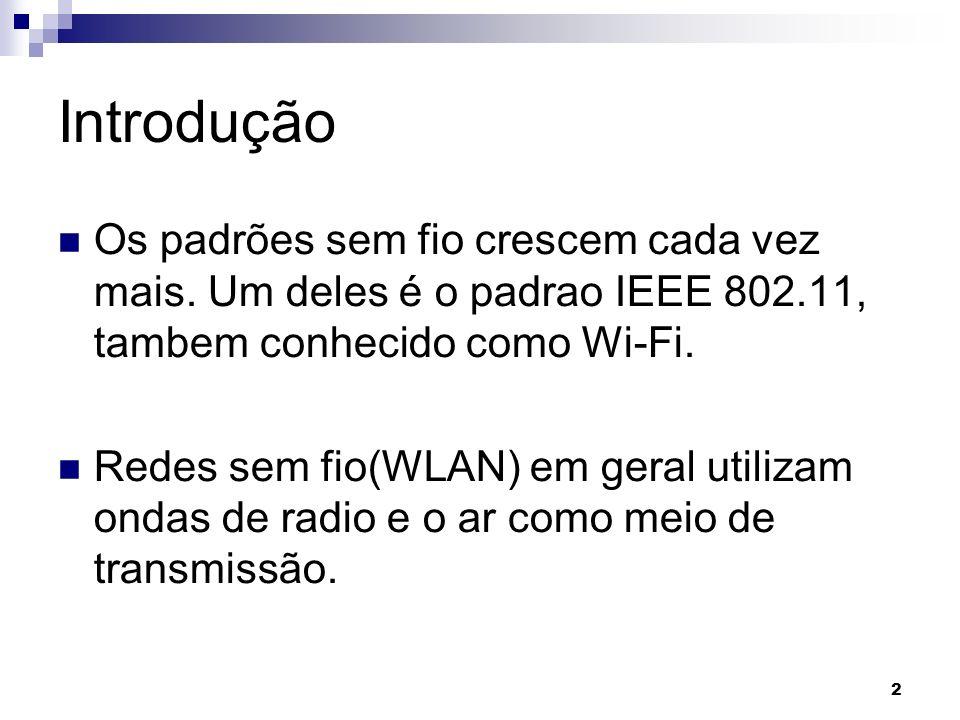 Introdução Os padrões sem fio crescem cada vez mais. Um deles é o padrao IEEE 802.11, tambem conhecido como Wi-Fi.