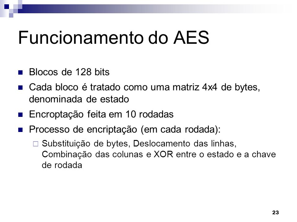 Funcionamento do AES Blocos de 128 bits