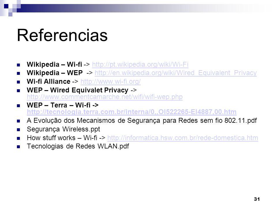 Referencias Wikipedia – Wi-fi -> http://pt.wikipedia.org/wiki/Wi-Fi