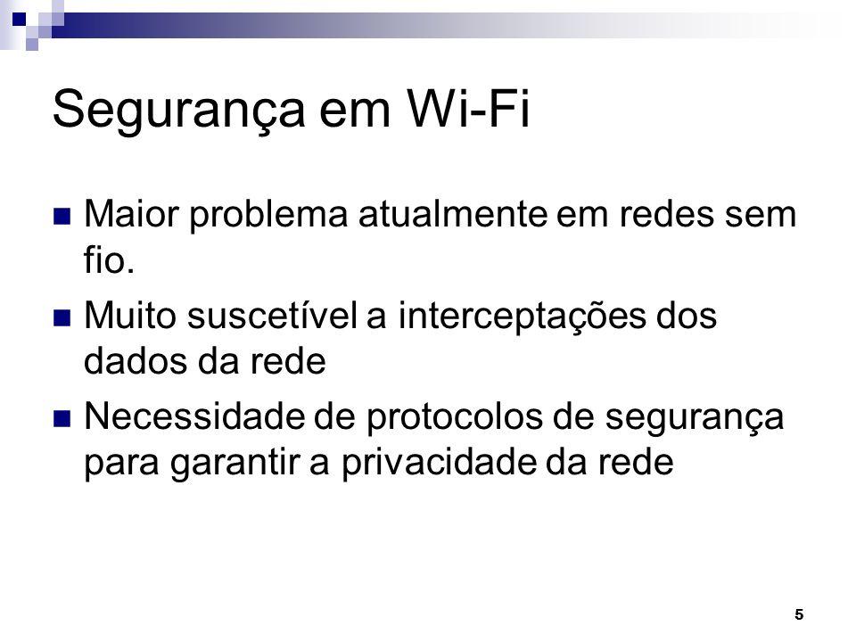 Segurança em Wi-Fi Maior problema atualmente em redes sem fio.