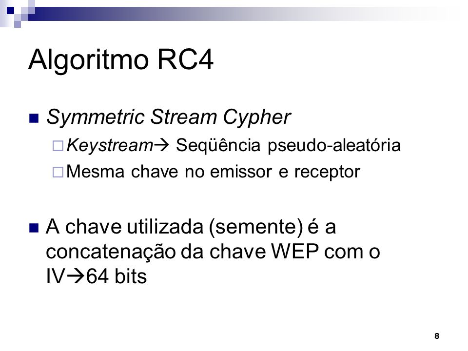 Algoritmo RC4 Symmetric Stream Cypher