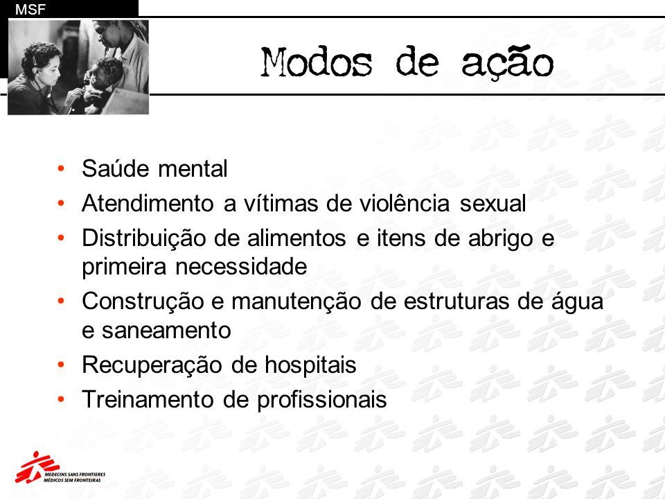 Modos de ação Saúde mental Atendimento a vítimas de violência sexual