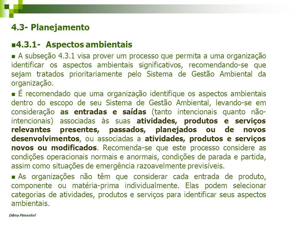 4.3- Planejamento 4.3.1- Aspectos ambientais