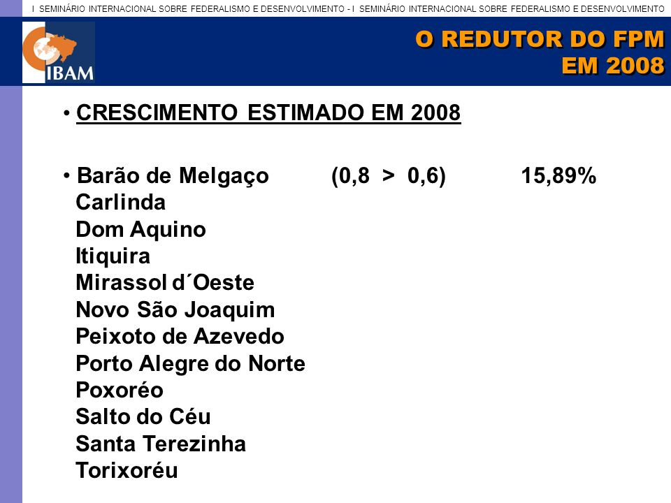 O REDUTOR DO FPM EM 2008. CRESCIMENTO ESTIMADO EM 2008. Barão de Melgaço (0,8 > 0,6) 15,89%