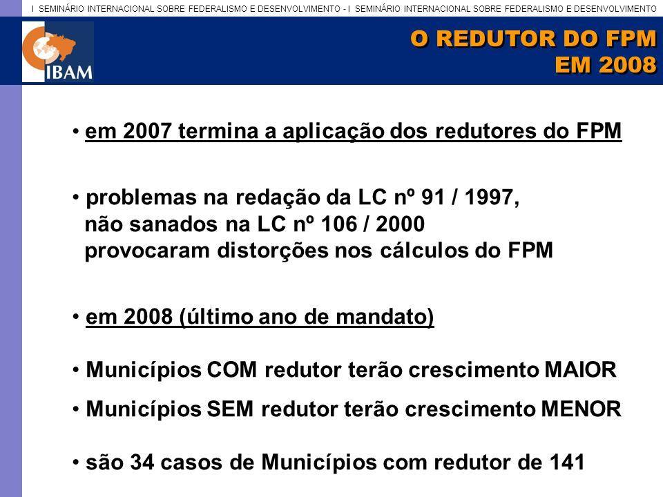 O REDUTOR DO FPM EM 2008. em 2007 termina a aplicação dos redutores do FPM. problemas na redação da LC nº 91 / 1997,