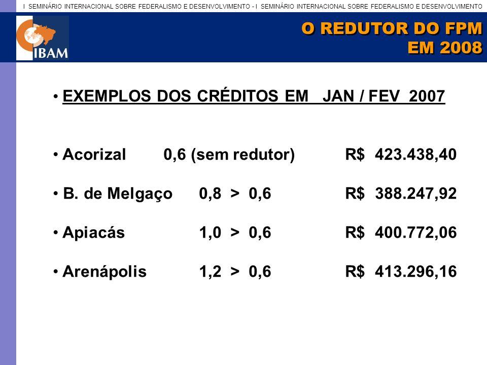 O REDUTOR DO FPM EM 2008. EXEMPLOS DOS CRÉDITOS EM JAN / FEV 2007. Acorizal 0,6 (sem redutor) R$ 423.438,40.