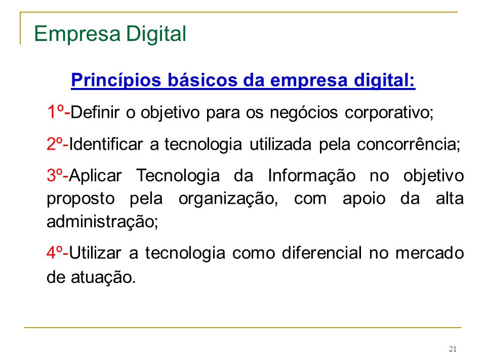 Princípios básicos da empresa digital: