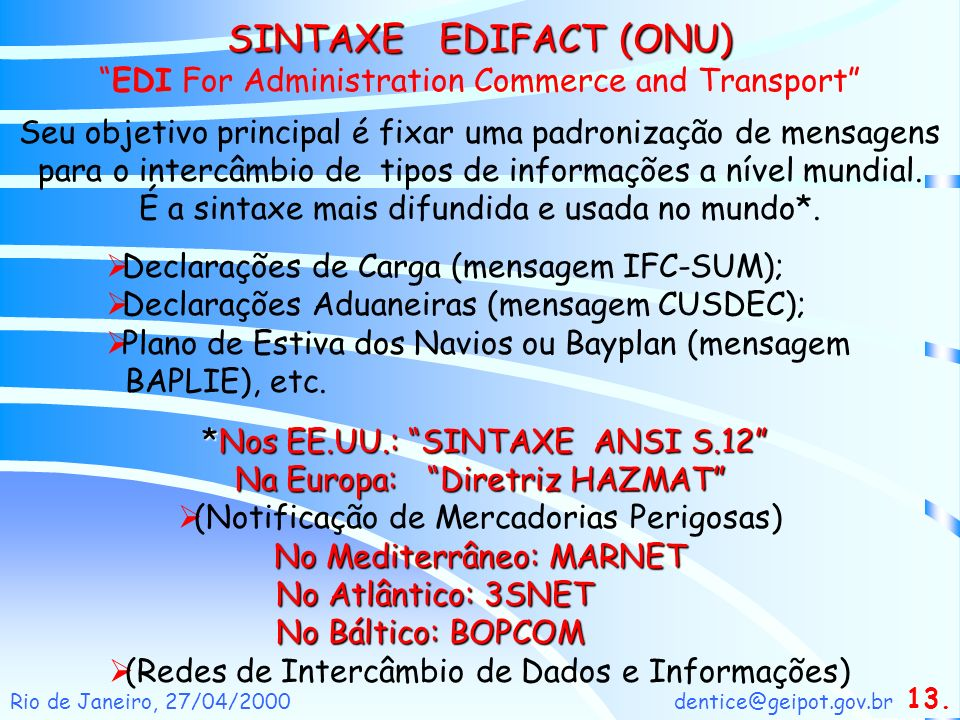 SINTAXE EDIFACT (ONU) EDI For Administration Commerce and Transport