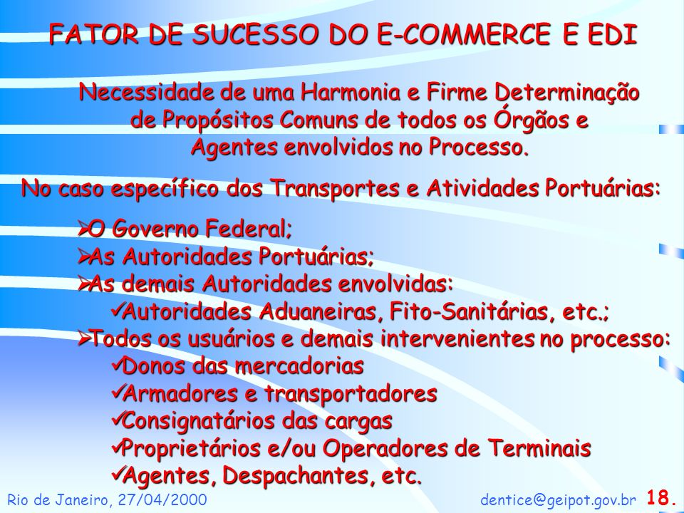 FATOR DE SUCESSO DO E-COMMERCE E EDI
