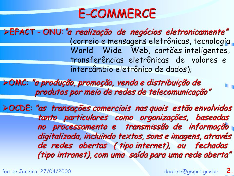 E-COMMERCE EFACT - ONU: a realização de negócios eletronicamente