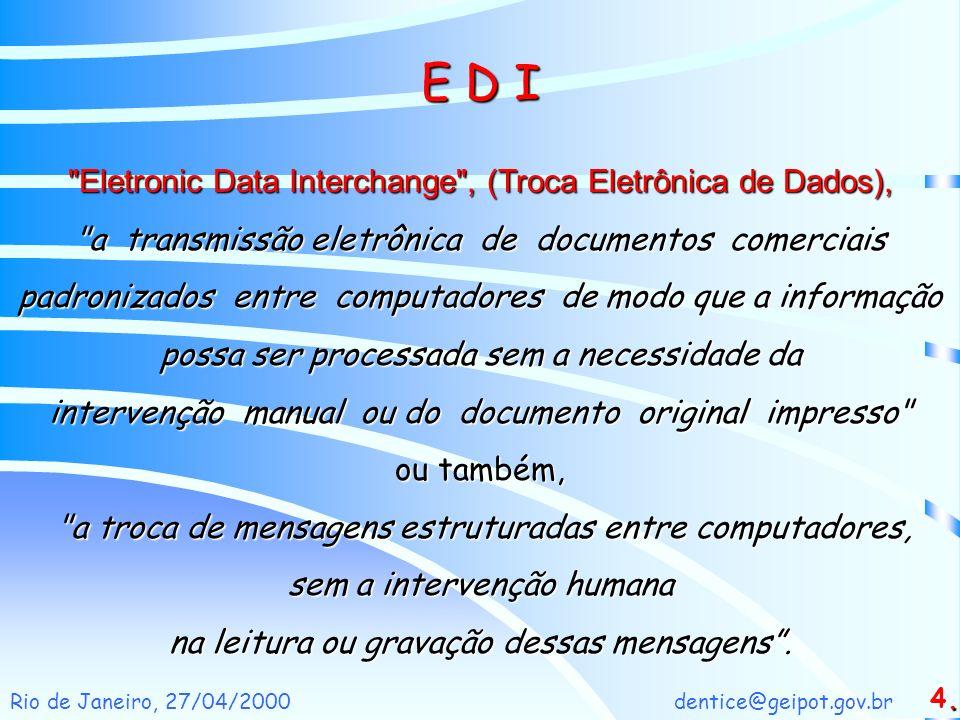 E D I Eletronic Data Interchange , (Troca Eletrônica de Dados),