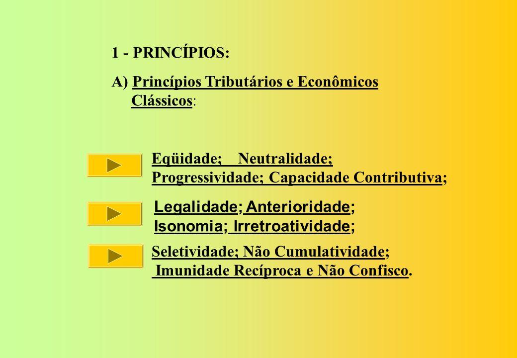 1 - PRINCÍPIOS: A) Princípios Tributários e Econômicos. Clássicos: Eqüidade; Neutralidade; Progressividade; Capacidade Contributiva;