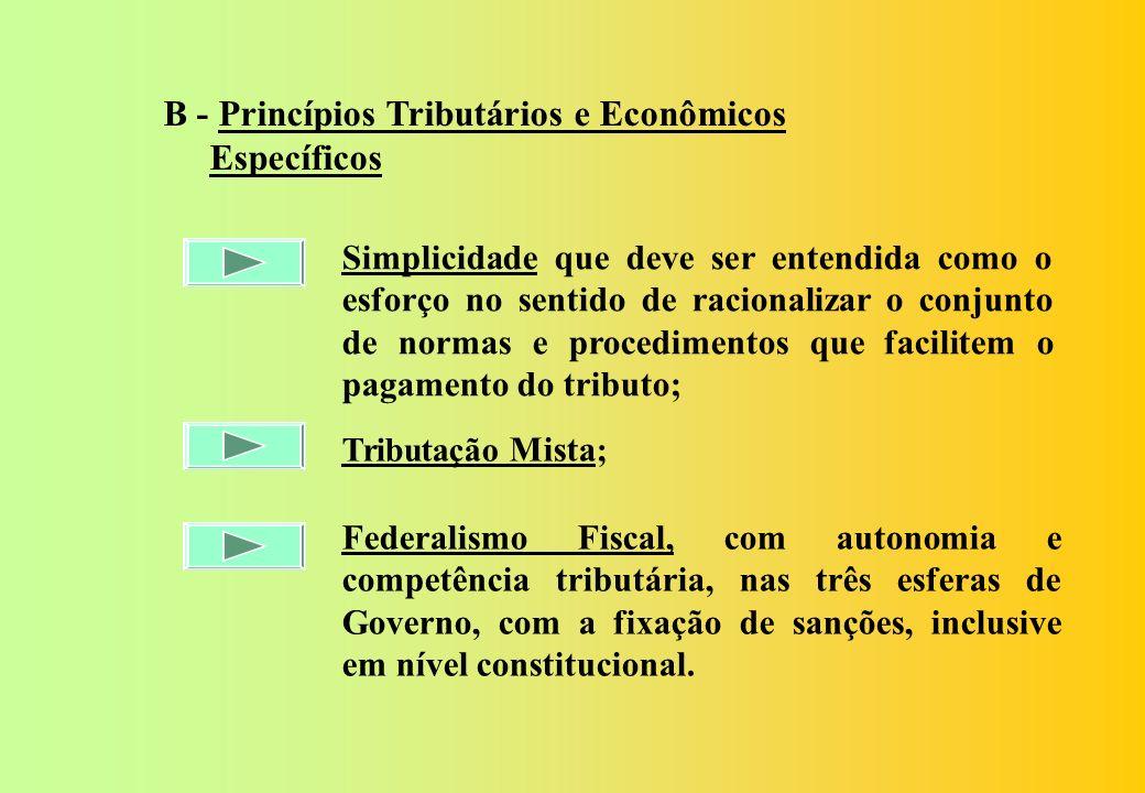 B - Princípios Tributários e Econômicos Específicos