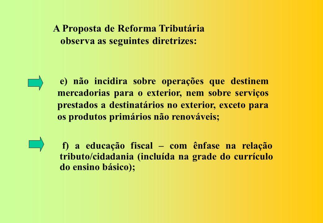 A Proposta de Reforma Tributária observa as seguintes diretrizes: