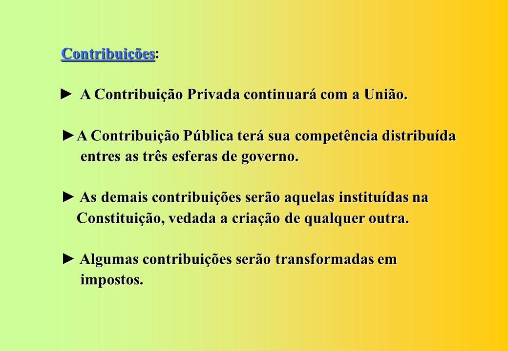 Contribuições: ► A Contribuição Privada continuará com a União. ►A Contribuição Pública terá sua competência distribuída.