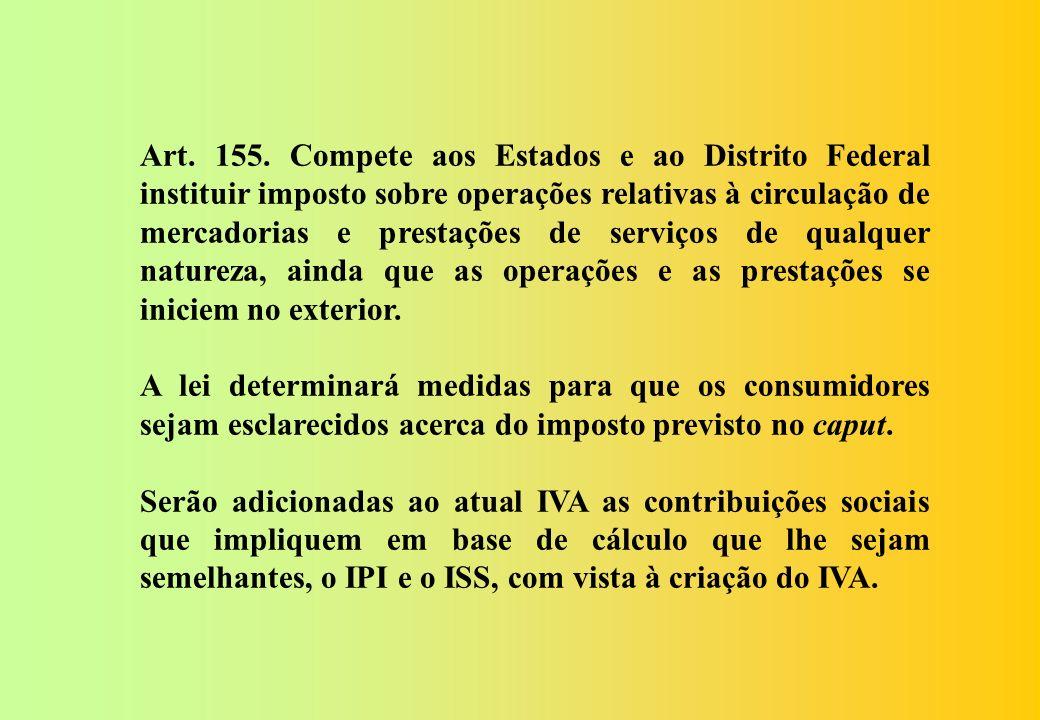 Art. 155. Compete aos Estados e ao Distrito Federal instituir imposto sobre operações relativas à circulação de mercadorias e prestações de serviços de qualquer natureza, ainda que as operações e as prestações se iniciem no exterior.