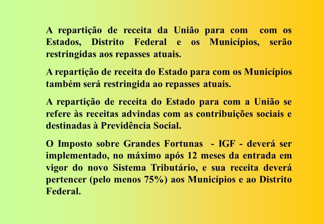 A repartição de receita da União para com com os Estados, Distrito Federal e os Municípios, serão restringidas aos repasses atuais.