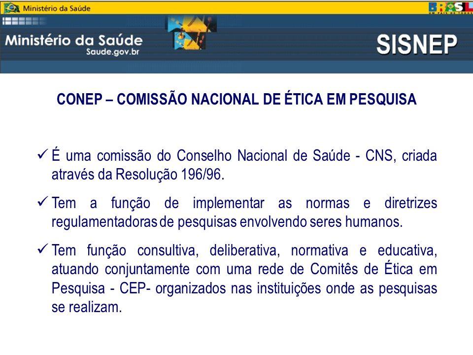 CONEP – COMISSÃO NACIONAL DE ÉTICA EM PESQUISA
